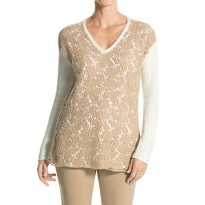 [Chico's]Christina lace ivory pullover sweater 😍